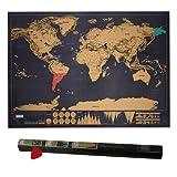 Htianc Rubbel Weltkarte, Weltkarte zum Rubbeln, Scratch Weltkartegeschenk für Reise, Globetrotter