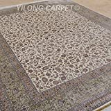 Yilong 9 x12  Handmade Rugs Vintage Traditional Oriental Shah Abbassi Floral Pattern Hand Knotted Silk Carpet...
