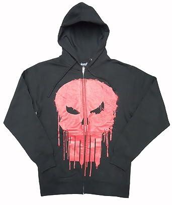 3c37fe16069dd1 Marvel Punisher Dripped Red Skull Mens Black Zip Up Hoodie Sweatshirt:  Amazon.co.uk: Clothing