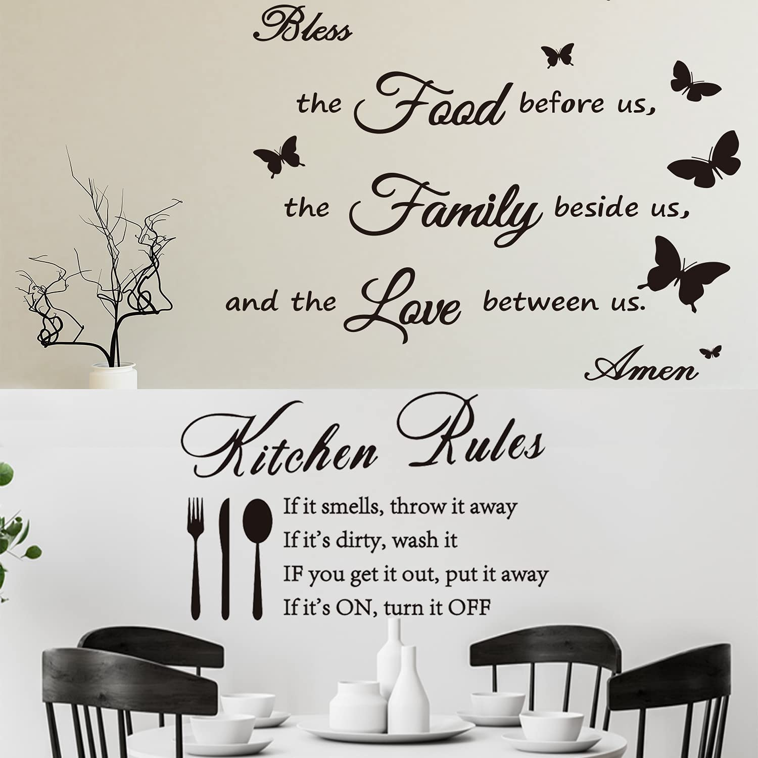 Cmaone Dinner Prayer Wall Decals Kitchen Rules Wall Stickers Bless The Food Before us Sign Butterfly Wall Sticker Quote Decal Removable Vinyl Art Decoration for Home Kitchen Dining Room, 2 Styles