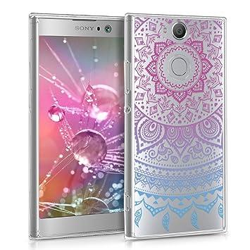 kwmobile Funda para Sony Xperia XA2 - Carcasa de [TPU] para móvil y diseño de Sol hindú en [Azul/Rosa Fucsia/Transparente]