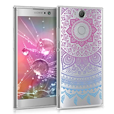 kwmobile Sony Xperia XA2 Hülle - Handyhülle für Sony Xperia XA2 - Handy Case in Blau Pink Transparent