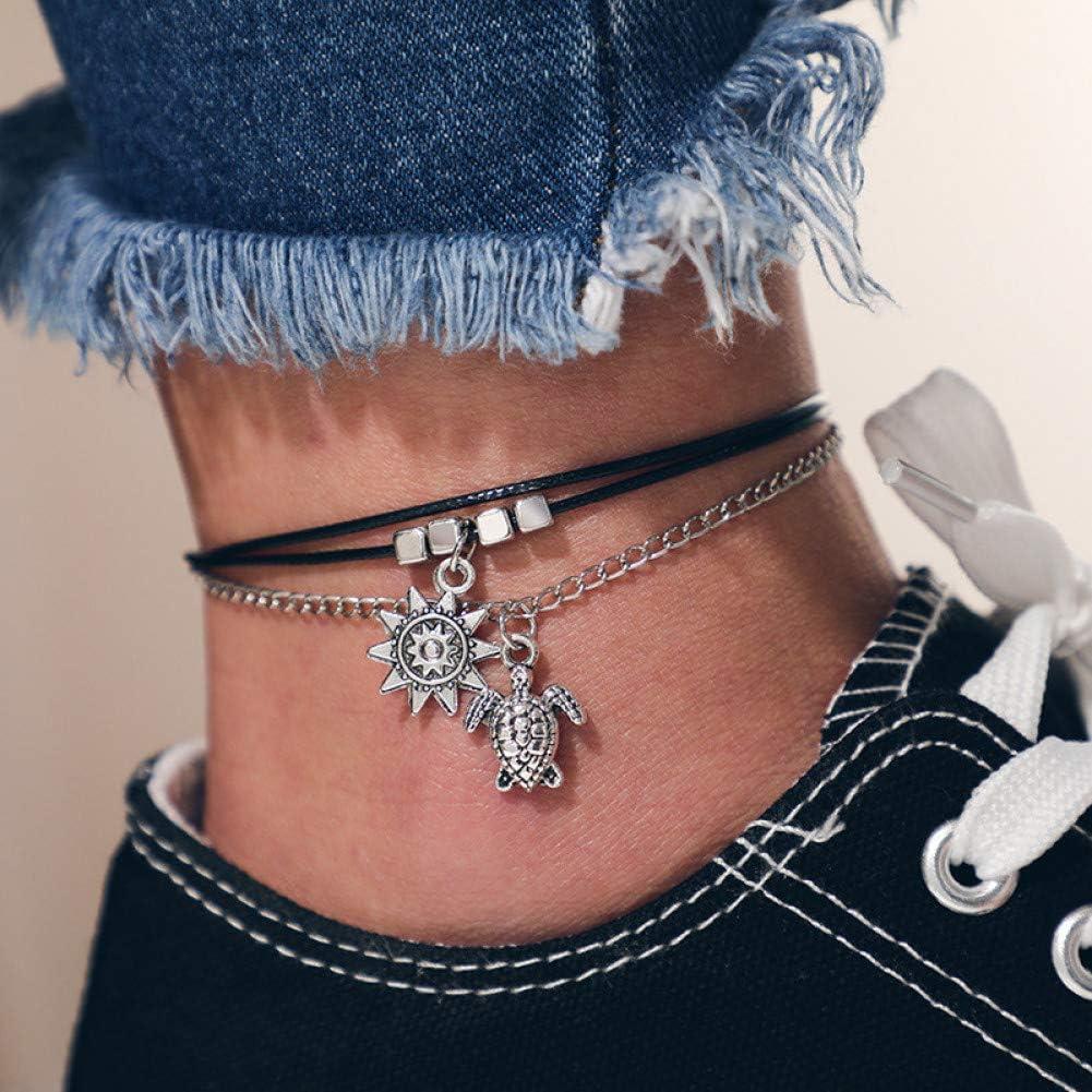 HUIWO Vintage Multicouche Chic Tortue Soleil Bracelets De Cheville pour Les Femmes Corde Noire Couleur Argent Cha/îne Bracelets De Cheville Bracelets Fille Cadeau De F/ête