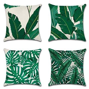 Tropische Pflanze Blumen Blätter Kissenbezüge Kissenhülle Kissenbezug Dekokissen