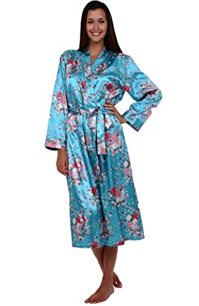 Alexander Del Rossa Womens Printed Satin Robe, Long Dressing Gown at ...