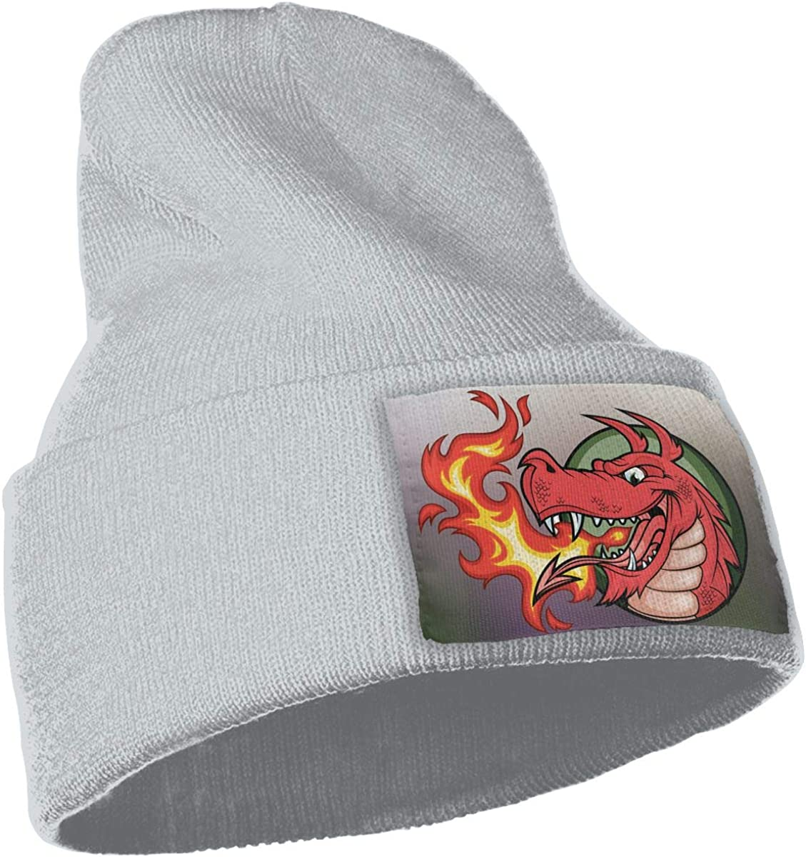 Fire Dragon Hat for Men and Women Winter Warm Hats Knit Slouchy Thick Skull Cap