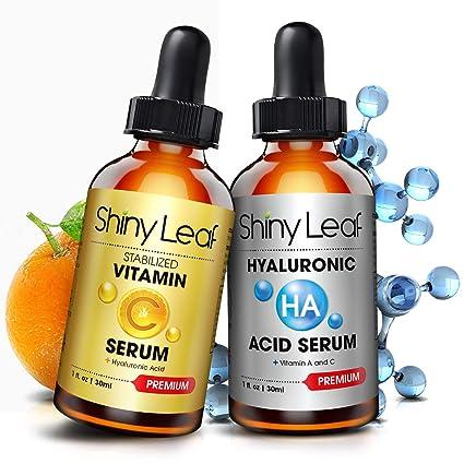 Pack de Serum Antienvejecimiento - Serum con Vitamina C y Serum con Ácido Hialurónico para la