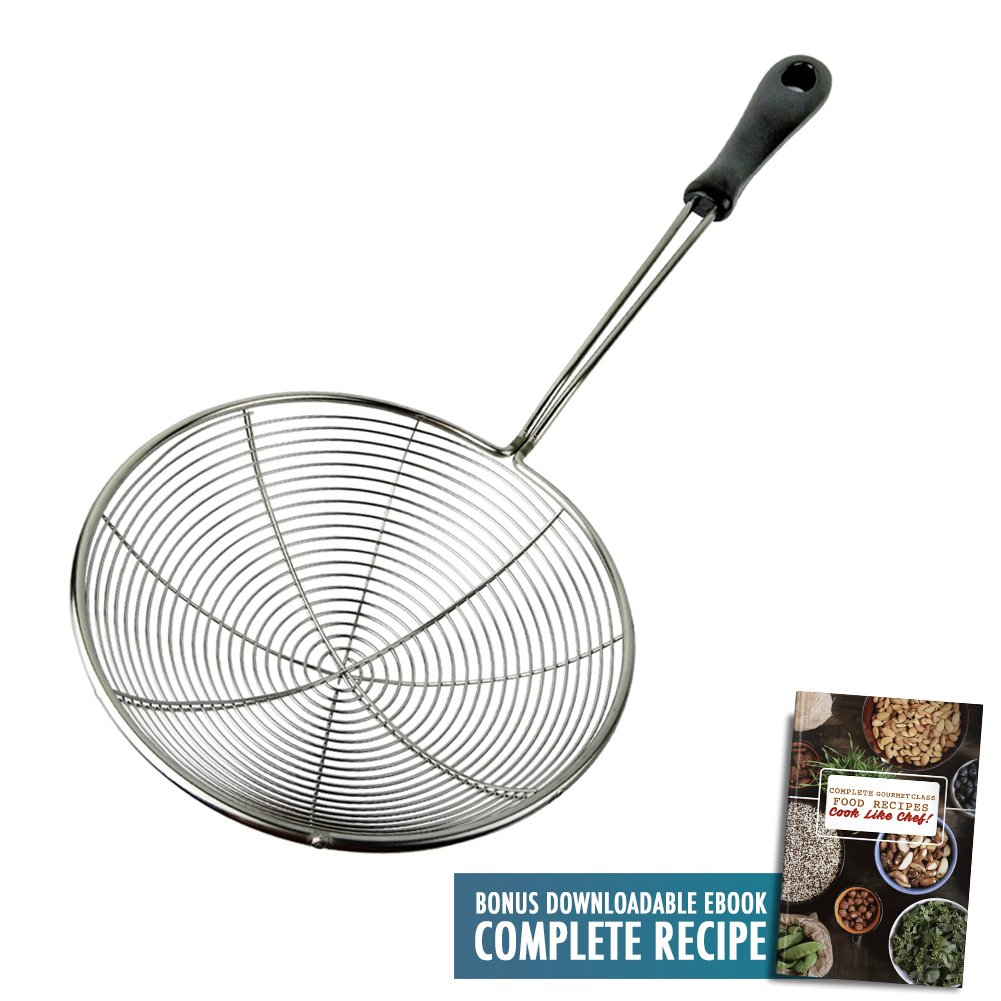 Spider Kitchen Strainer 6.3'' Food Skimmer Ladle Premium 304 Stainless Steel Cooking Utensils Wire Net Asian Wok Colander Frying Tool with Stay Cool Heat Resistant PP Handle with Food Recipe Ebook