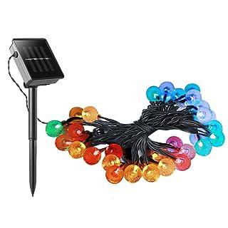 Guirnaldas LED Multicolor YOKKAO, Luces LED de Colores con Panel Solar y Batería Recargable para Exteriores a Prueba de Agua IP44 (Jardín, casa, boda, navidad, etc.)