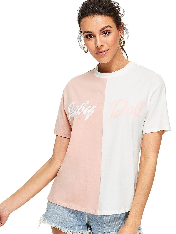 a86bc0527 Amazon.com: SheIn Women's Casual Colorblock Casual T-Shirt Tee Top: Clothing