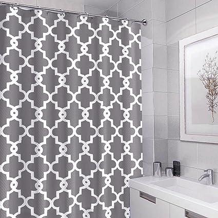 Geometric Pattern Shower Curtains Mildew Resistant Waterproof Antibacterial Fabric Curtain For Bathroom 72x72 Inch