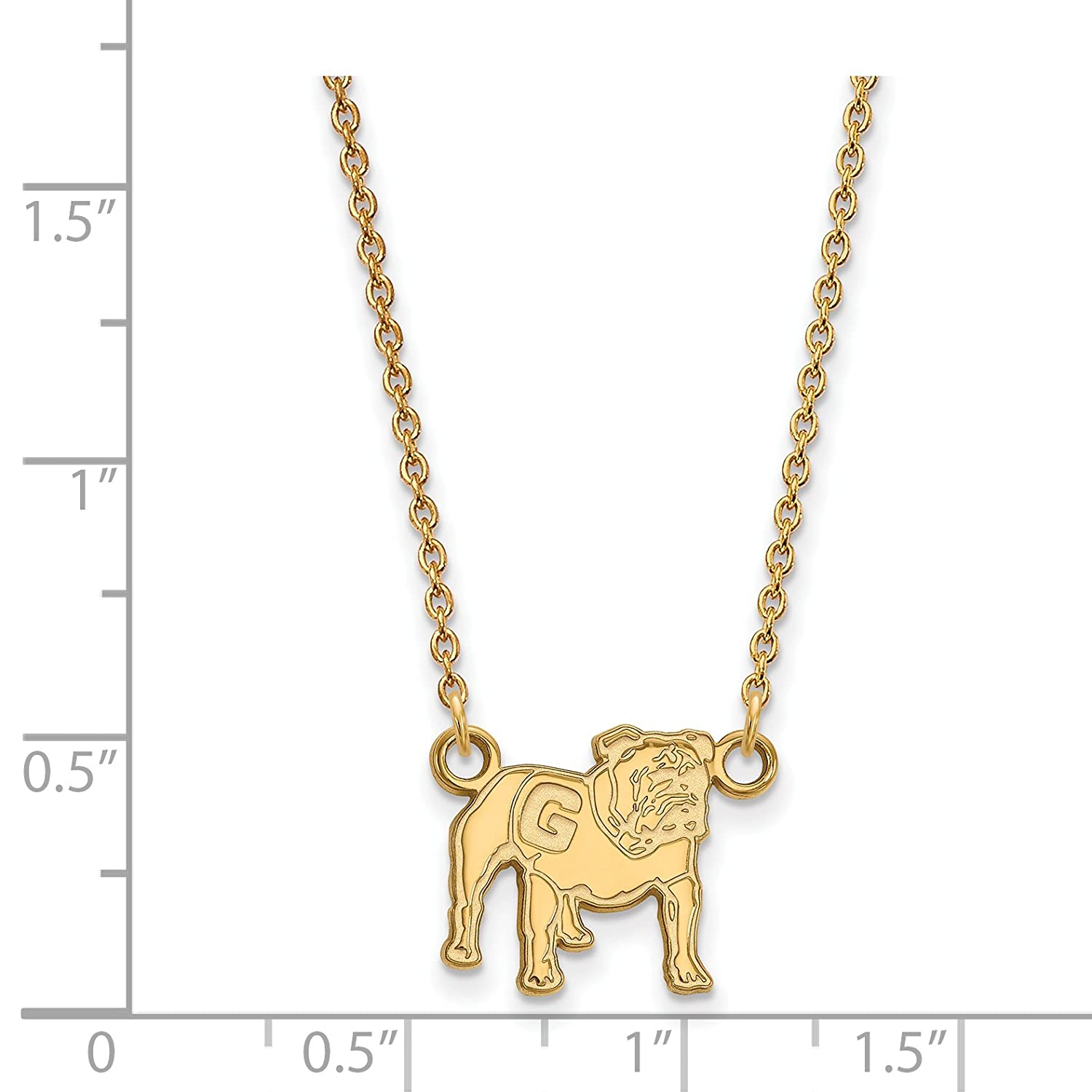 University of Georgia Bulldogs UGA Mascot Pendant Necklace Gold Plated Silver 13x12mm 18 Inches