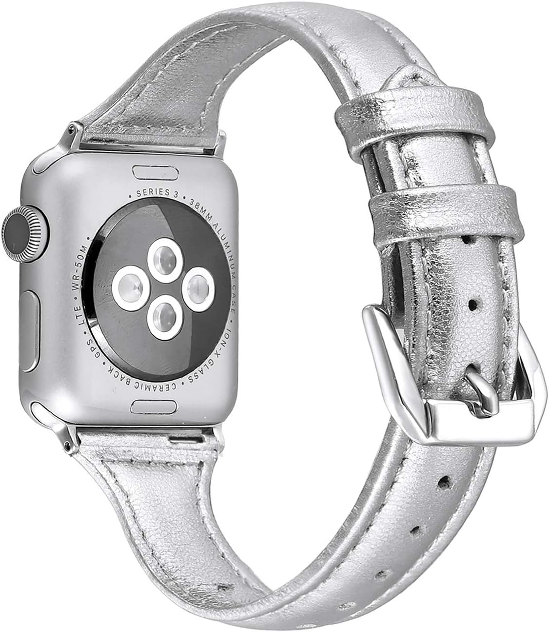 Secbolt Leather Bands Compatible Apple Watch Band 38mm 40mm Iwatch Series 6 5 4 3 2 1 SE Slim Replacement Wristband Strap Stainless Steel Buckle, Silver