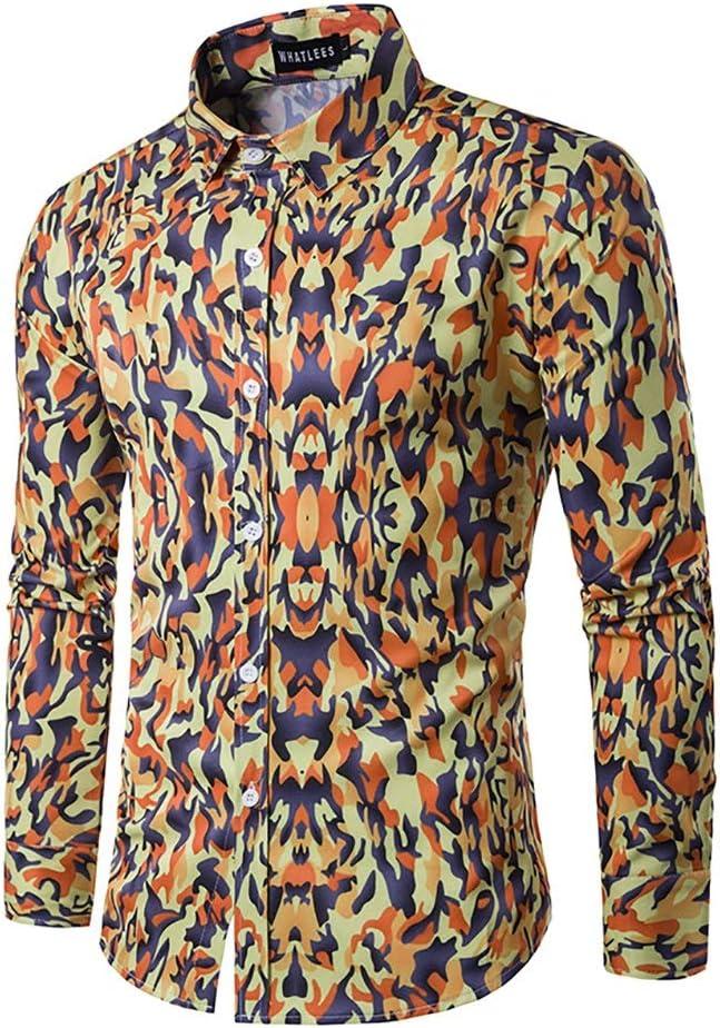 Fashion Vintage Floral Prints Mens Dress Shirts Long Sleeve Slim Casual Social Man Clothing Tops Mens Dress Shirt Color : A, Size : XL