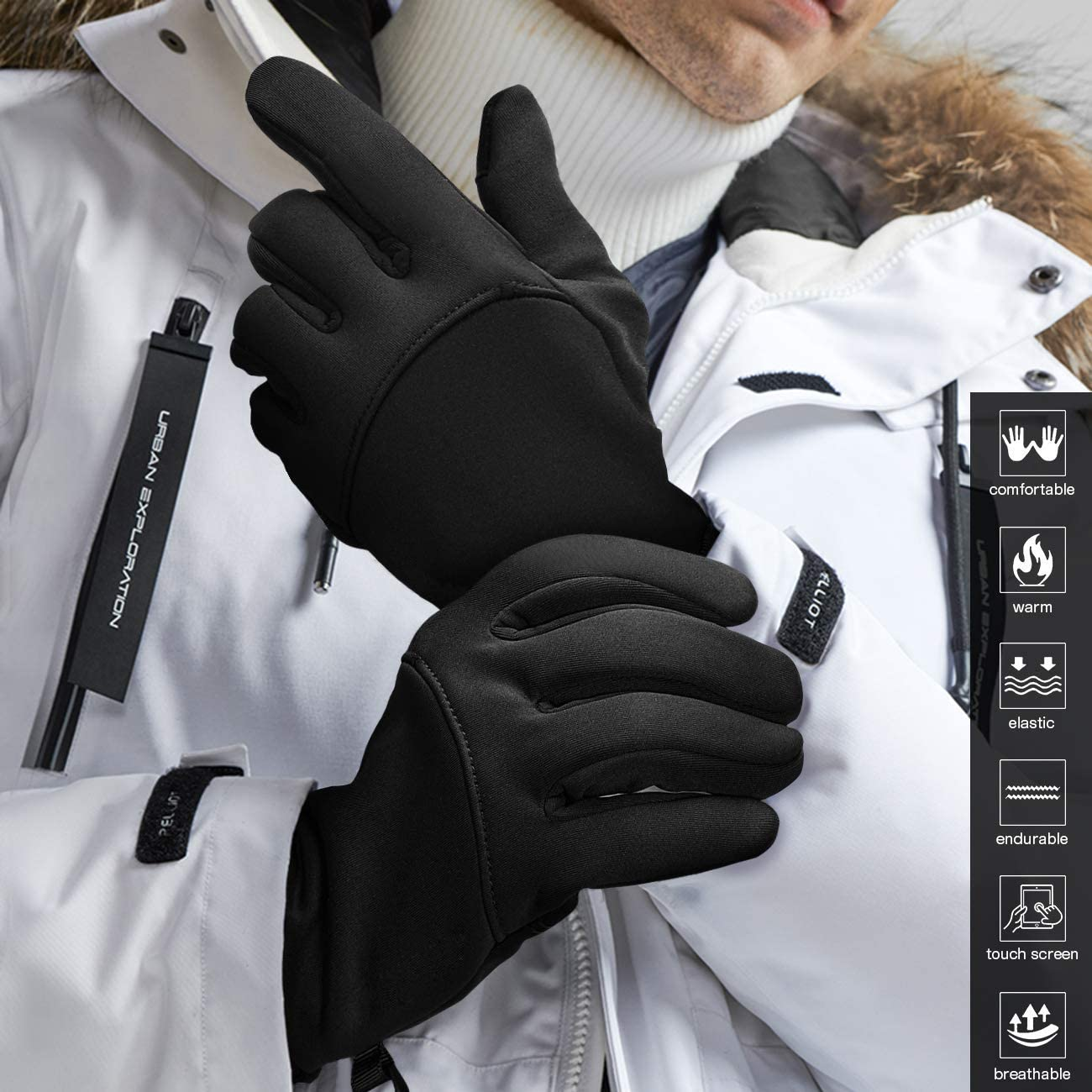 JIANYE Winter Gloves Men Women Touchscreen Thermal Windproof Cold Weather Gloves for Running Driving Skiing
