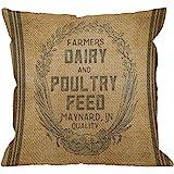 HGOD DESIGNS Throw Pillow Case Vintage Burlap Feed Sack Cotton Linen Square Cushion Cover Standard Pillowcase for Men…