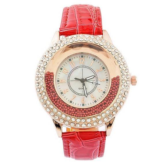 mjartoria Mujer Reloj De Pulsera Reloj de cuarzo bisutería cuero PU pulsera Diseño de moda con strass rojo: Amazon.es: Relojes
