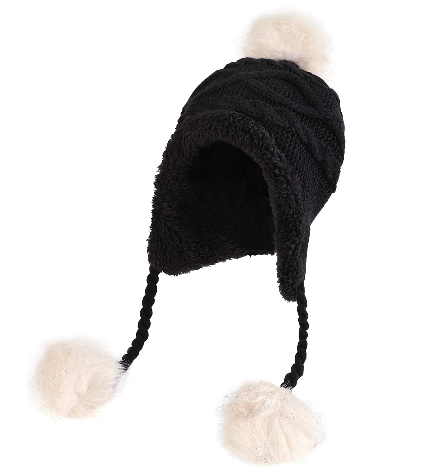Sumolux Christmas Hat Warm Knitted Pom Stripe Cuff Beanie Stocking Cap for Kids Adult Autumn Winter