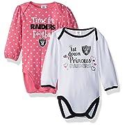 NFL Oakland Children Girls 2 Pack Long Sleeve Bodysuit, 0-3 Months, Raiders