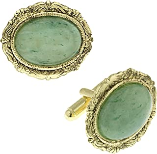product image for 1928 Jewelry Unisex Gold Tone Oval Jade Cuff Links