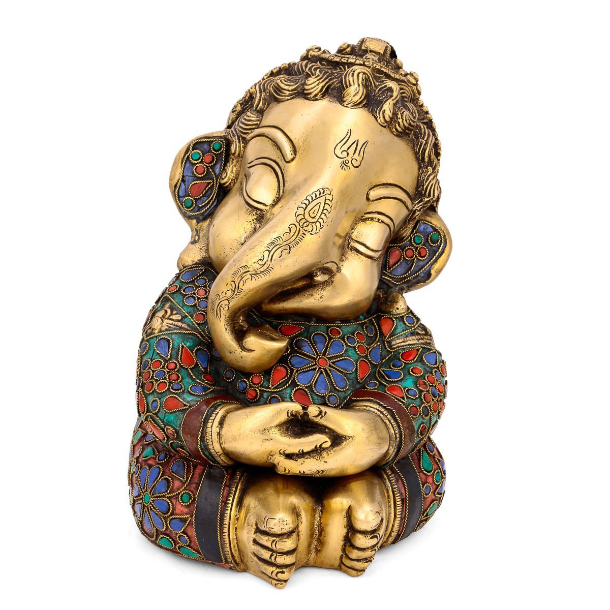 Collectible India Brass Baby Ganesh Idol Hindu Success Lord
