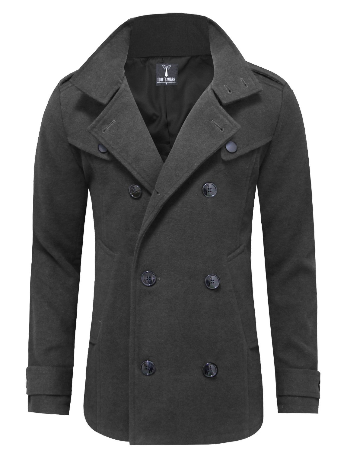 Tom's Ware Mens Stylish Fashion Classic Wool Double Breasted Pea Coat TWCC06-CHARCOAL-US L