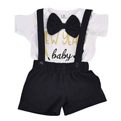 b0bbe29998d3 Unique Baby Boys New Years Baby Suspender Outfit Layette Set (6 Months)  Black