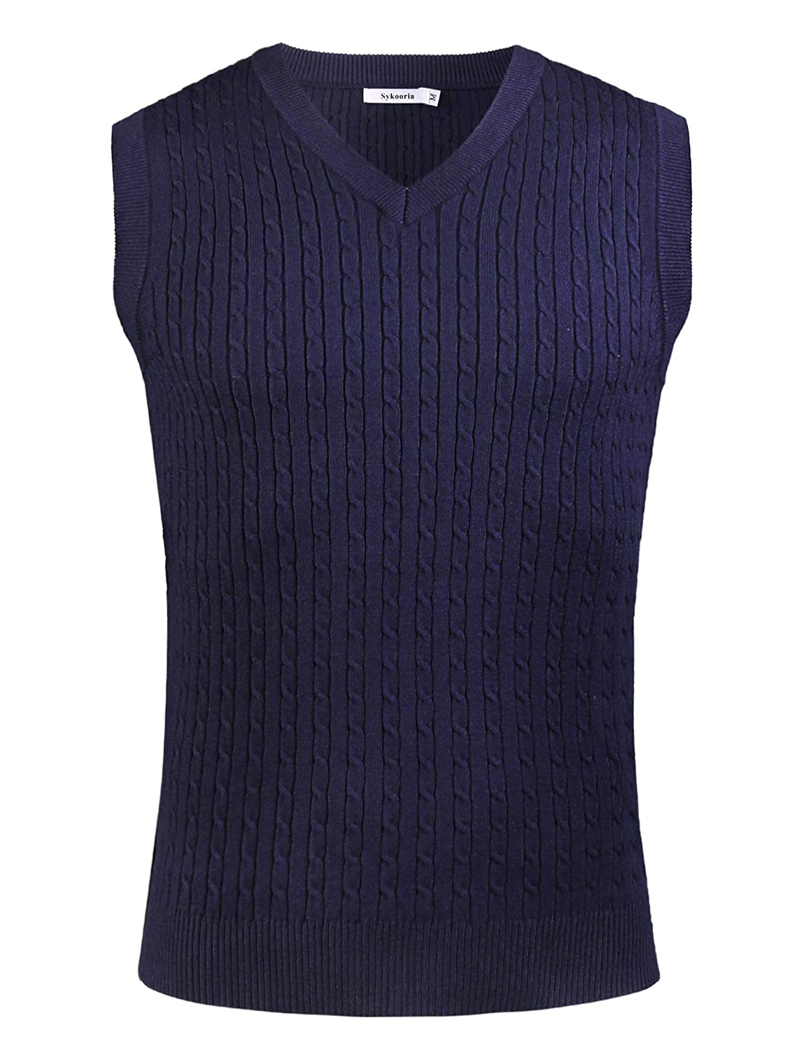 Sykooria Mens Gilets V Neck Sleeveless Vest Sweater Cotton Casual Chunky Winter Knitted Ribbed Tanks Tops Winter