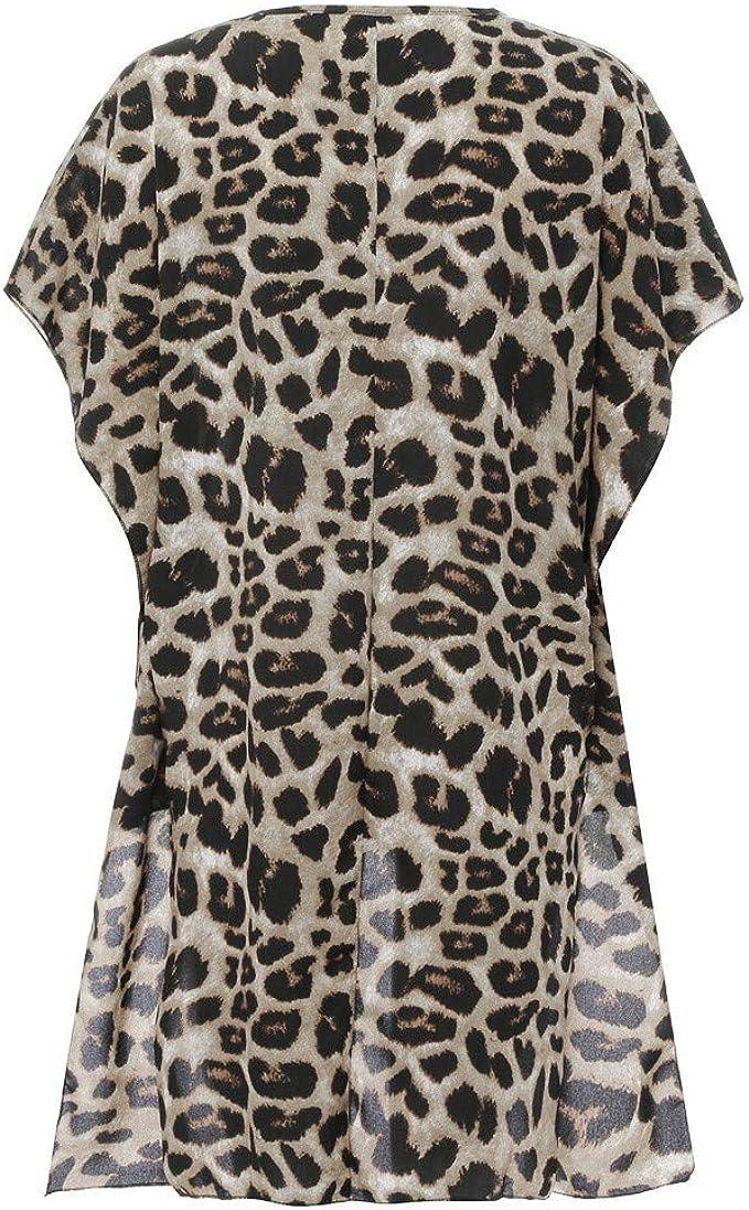 Camisa de Manga Larga con Cuello de Pico y Estampado de Leopardo ...