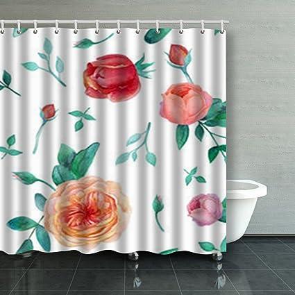 AlliuCoo Custom Shower Curtains Watercolor Garden Roses Seamless Vintage Textures Flower Bathroom Bath Curtain 84X72 Inches
