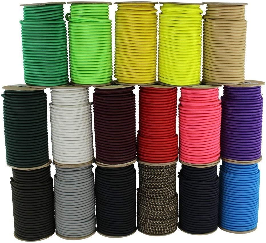 100/% Stretch Weather Resistant Outdoor UV Commercial 50 feet - Black Shock Cord 1//4 inch DIY Projects Moisture SGT KNOTS Marine Grade Dacron Polyester Bungee Indoor Tie Downs