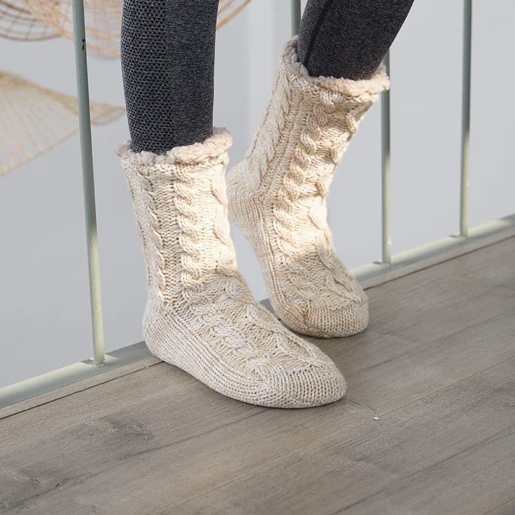 MaaMgic Calze Natalizie Calze Pelose Spesse da Donna Novit/à Calze Divertenti da Letto Pantofole Calze Antiscivolo Termiche Calzini Inverno