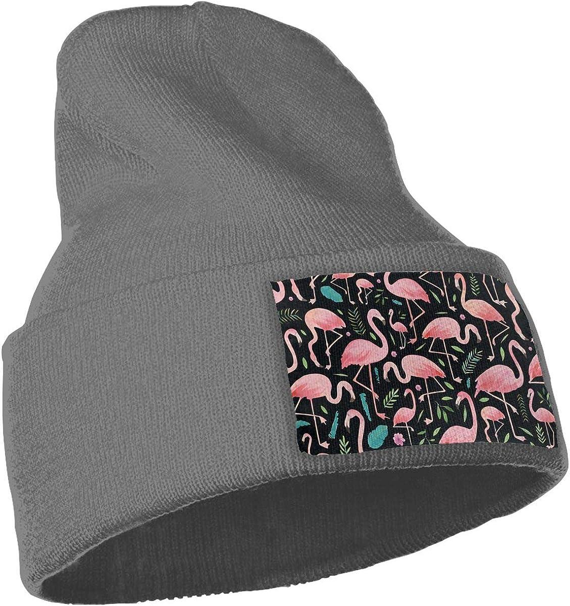 Pink Floral Flamingos Unisex Skull Cap