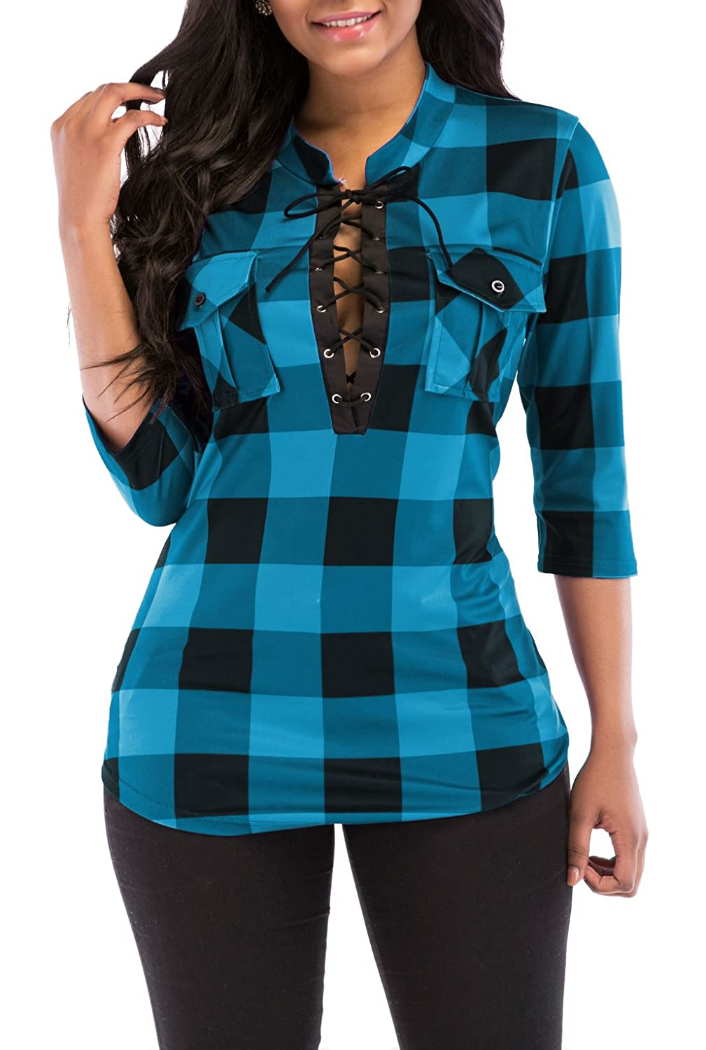 Dark Green KISSMODA Women's Sexy Fitted Plaid Shirt 3 4 Sleeves Blouses V Neck Tie Front Tops with Pockets