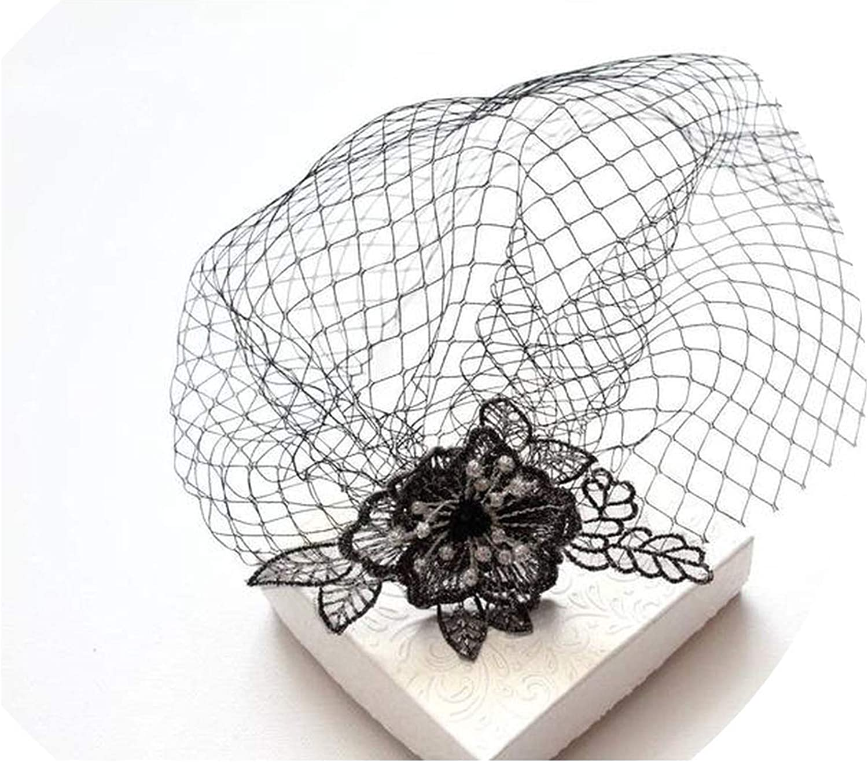 short veil for face in black net fascinator or funeral veil also in ivory or navy Black headband veil wedding voilette