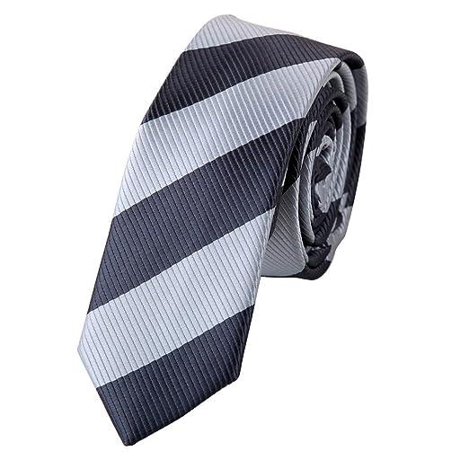 b42613ca58a7 Silk Skinny Tie Black Grey Stripe Slim Skinny for Men with Gift Box PS1005  148cm*