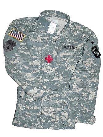 New US Army Military ACU Digital Combat Coat Uniform Jacket Top Shirt +  Patches