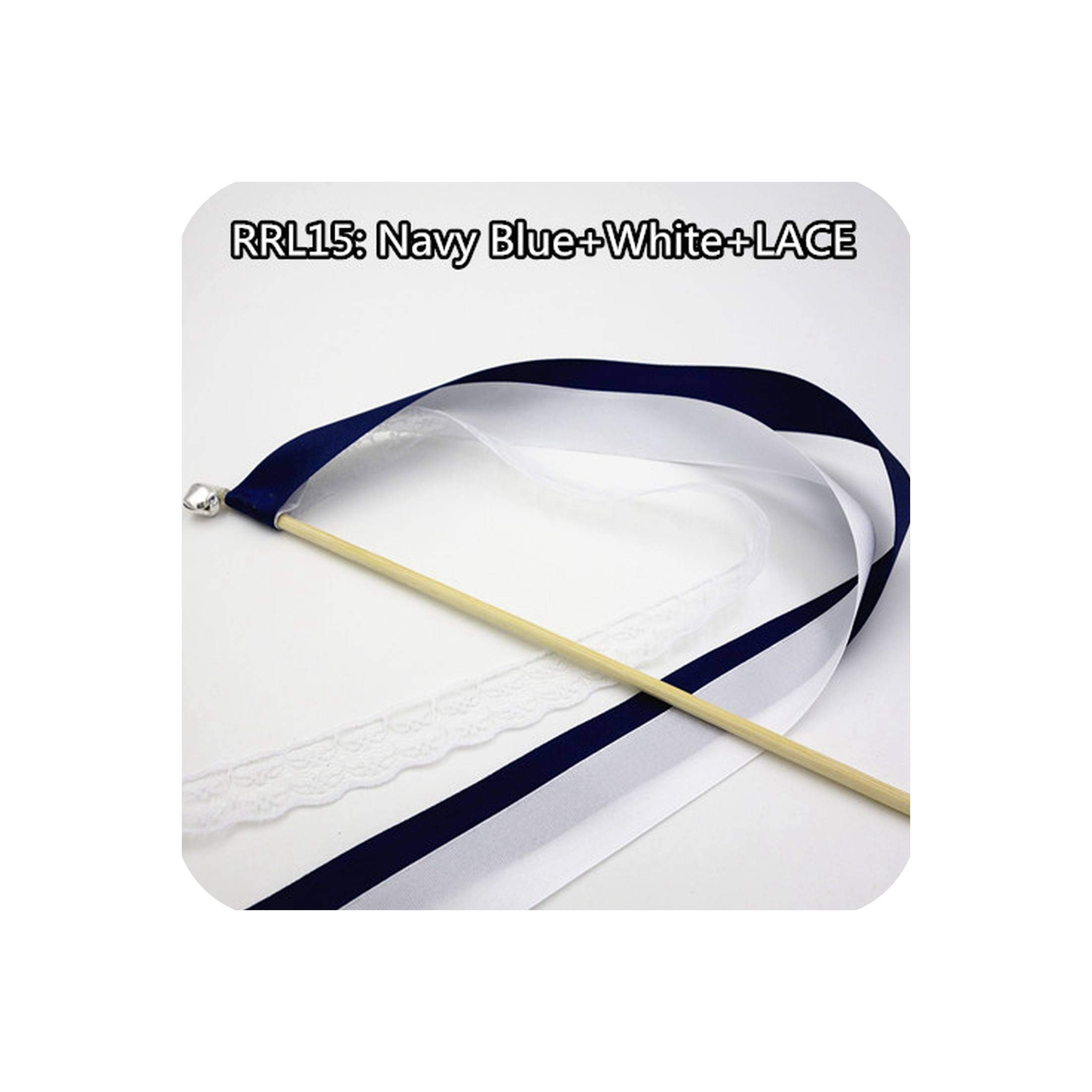 50Pcs Ribbon And Lace Wands Twirling Streamers Wedding Ribbon Stick Streamers Stick With Bell Send Off Bell Wands,Rrl15,White Lace