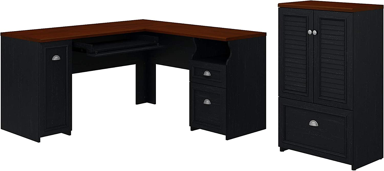 Bush Furniture Fairview L Shaped Desk and 2 Door Storage Cabinet with File Drawer, 60W, Antique Black