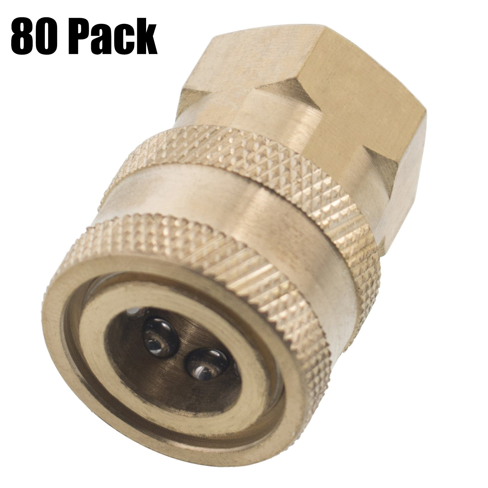 Erie Tools 80 1/4in. FPT Female Brass Socket Quick Connect Coupler 4000 PSI 10 GPM for Pressure Washer Nozzle Gun Hose Wand