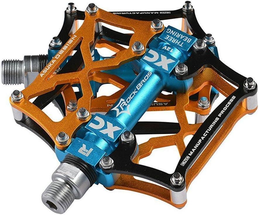 ROCKBROS Pedales para Bicicleta de Aleación de Aluminio Plataforma Rodamiento Sellado CNC 9/16 Pulgadas para Bicis MTB Bici de Carretera
