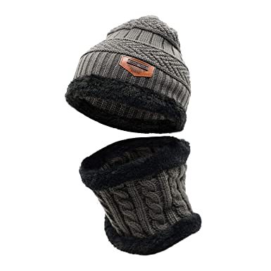 f4308e8f584 LLmoway Kids Winter Warm Fleece Knit Beanie Hat Circle Scarf Set for Boys  Girls Black