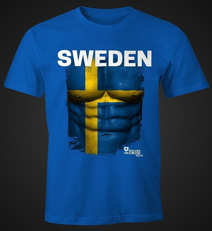 EM T-Shirt Herren Fußball Schweden Flagge Sweden Fanshirt Sverige  Waschbrettbauch Fan Shirt MoonWorks®: Amazon.de: Bekleidung