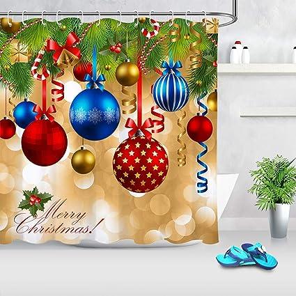 Colorful Christmas Balls.Lb Merry Christmas Shower Curtain Colorful Christmas Balls Hang On Pine Tree With Ribbon Funny Xmas Bathroom Curtain Waterproof Anti Mildew Fabric