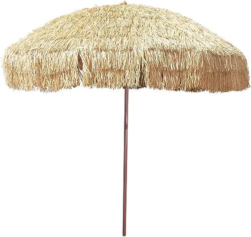 8 Hula Umbrella Thatched Tiki Patio Umbrella Natural Color 8 Foot Diameter Tropical Look Aluminum Pole 16 Fiberglass Ribs