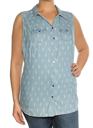 5667385e Style & Co. Plus Size Pineapple Daze Printed Denim-Look Shirt at ...