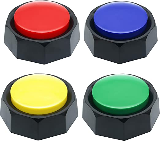 Joy Recordable Button,Talking Button,30S Recording Upgrade, Set of 4 Assorted Colored Buzzers,Sound Button, Easy Use, Material Safety, Answer Buzzer, Increase Fun,