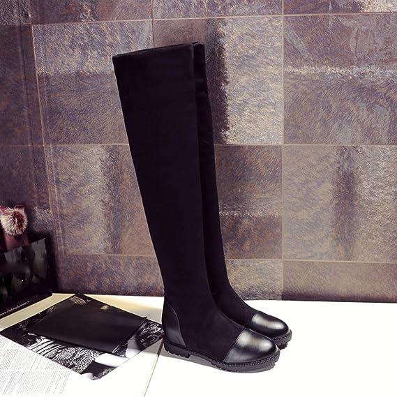 JiaMeng Zapatos con Punta Redonda Botas elásticas por Encima de la Rodilla Botas Cortas de Felpa y Tubo Largo del pie Espesor cuñas señoras Tubo Largo ...