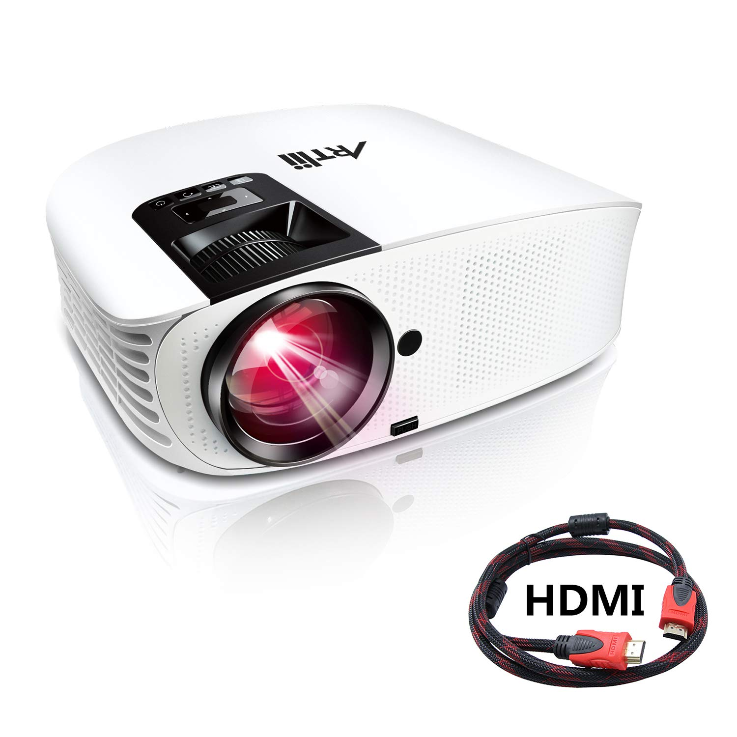 Artlii Proyector HD, Home Cinema Proyectores LED 3500 Lúmenes, Soporte 1080p Full HD,