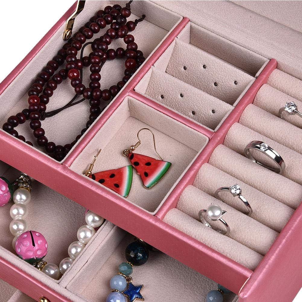 PU cuir montre de bo/îte de rangement de bijoux oreille boucle doreille dormant collier titulaire cas organisateur Bo/îte de rangement de bijoux